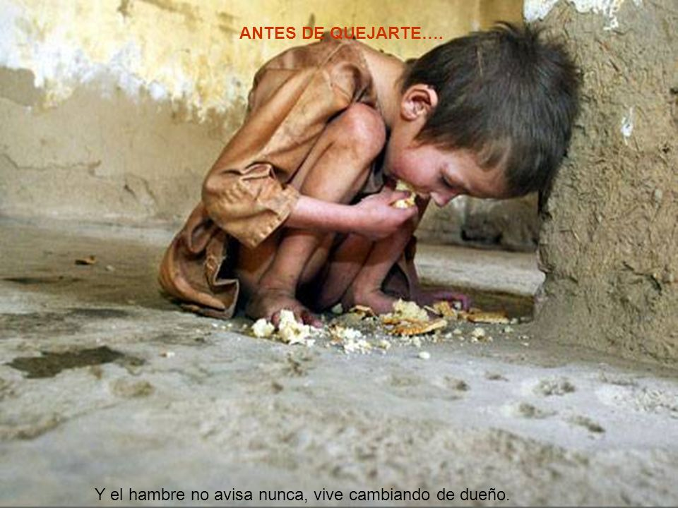 ANTES DE QUEJARTE…. Y el hambre no avisa nunca, vive cambiando de dueño.