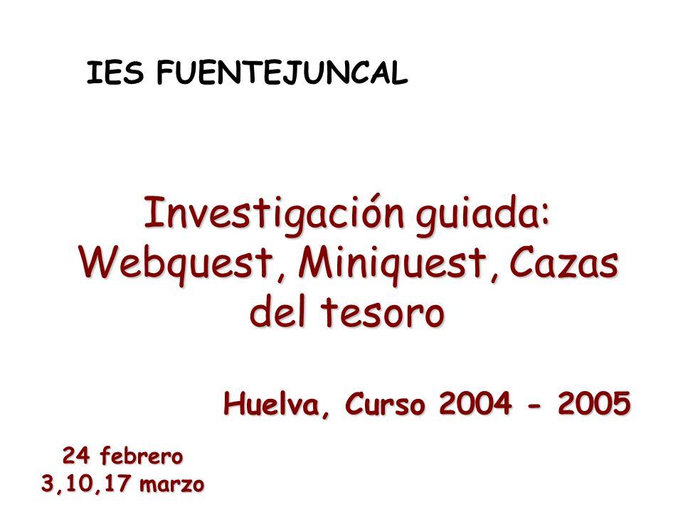 Investigación guiada: Webquest, Miniquest, Cazas del tesoro