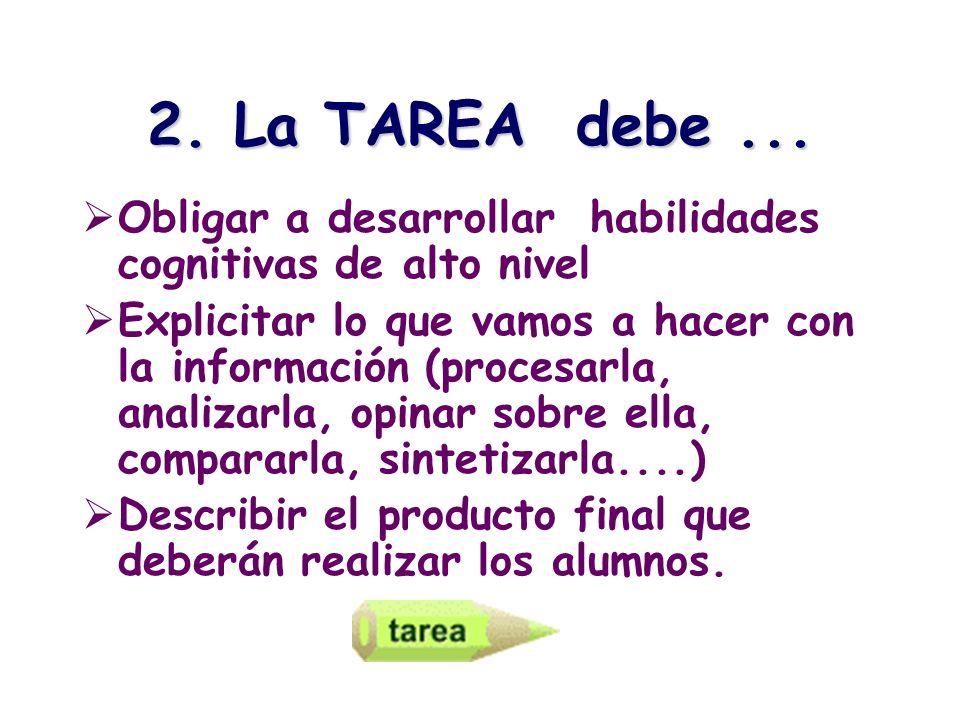 2. La TAREA debe ... Obligar a desarrollar habilidades cognitivas de alto nivel.
