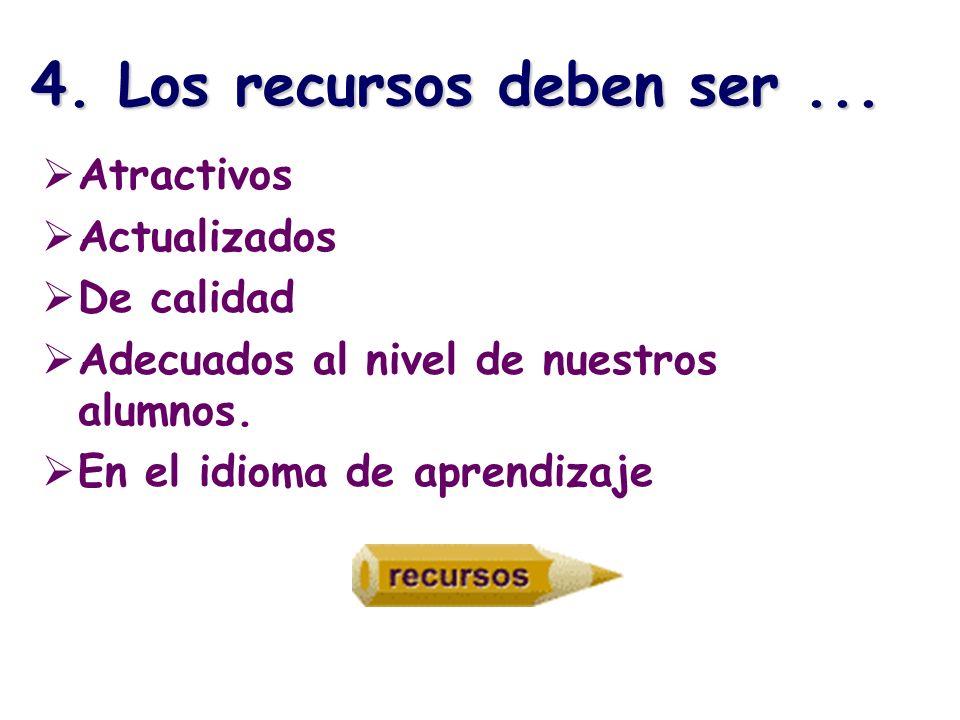 4. Los recursos deben ser ... Atractivos Actualizados De calidad