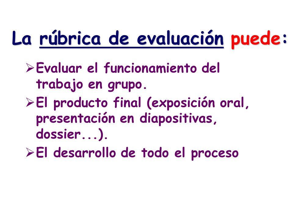 La rúbrica de evaluación puede: