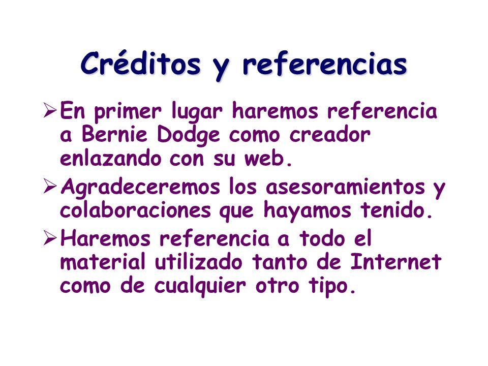 Créditos y referencias