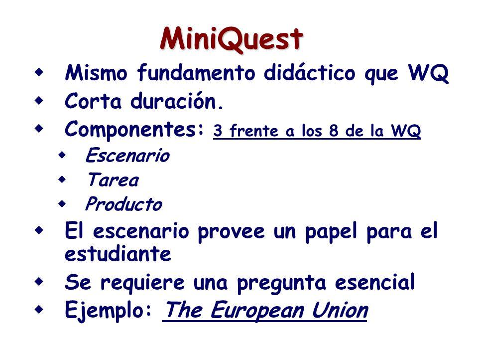 MiniQuest Mismo fundamento didáctico que WQ Corta duración.