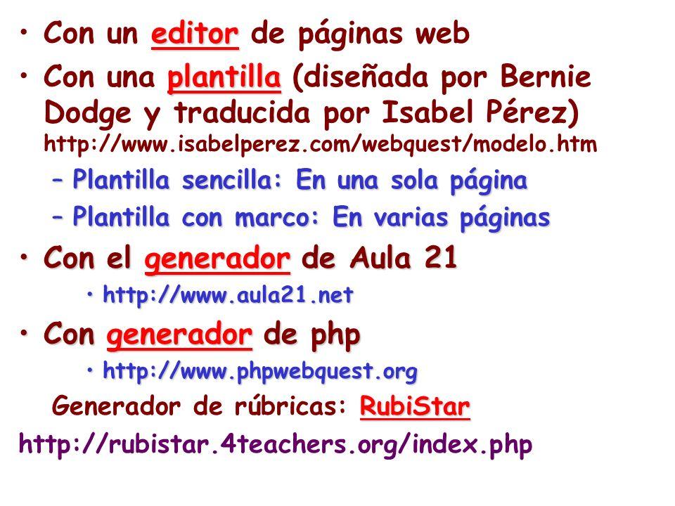 Con un editor de páginas web