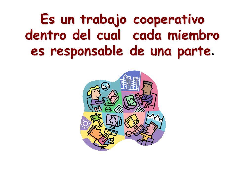 Es un trabajo cooperativo dentro del cual cada miembro es responsable de una parte.
