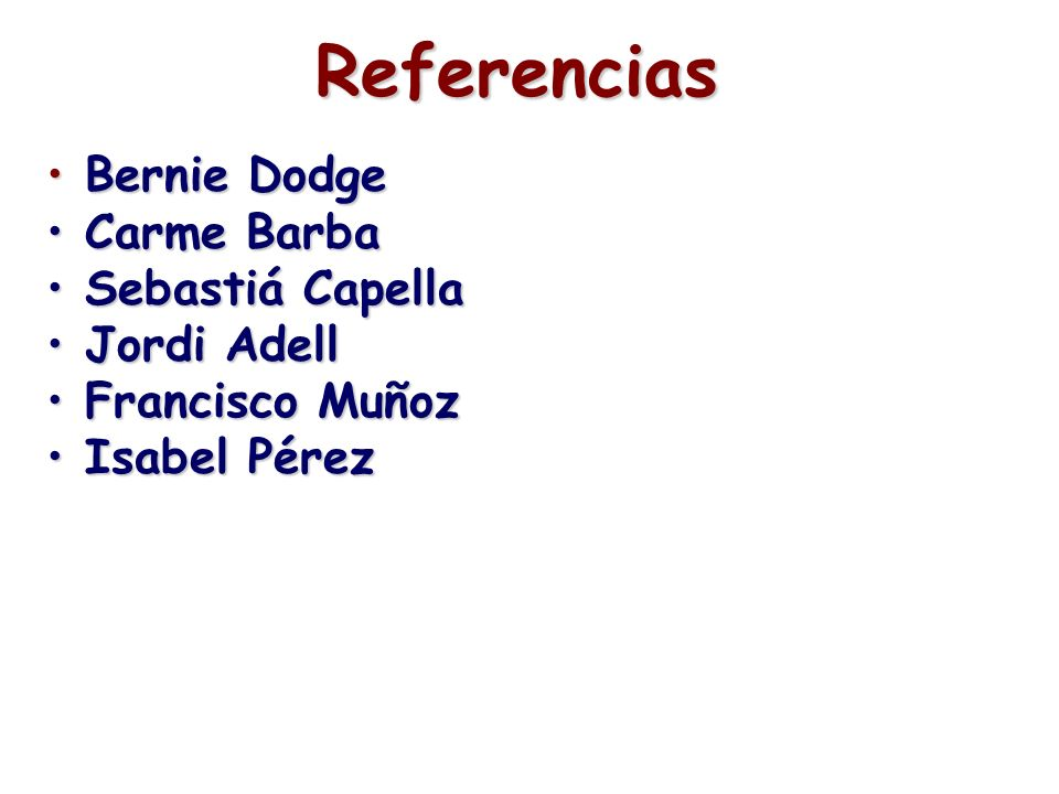 Referencias Bernie Dodge Carme Barba Sebastiá Capella Jordi Adell