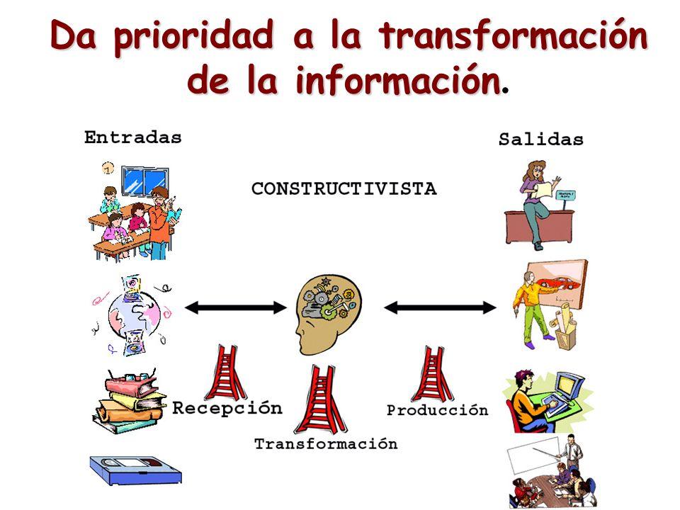 Da prioridad a la transformación de la información.