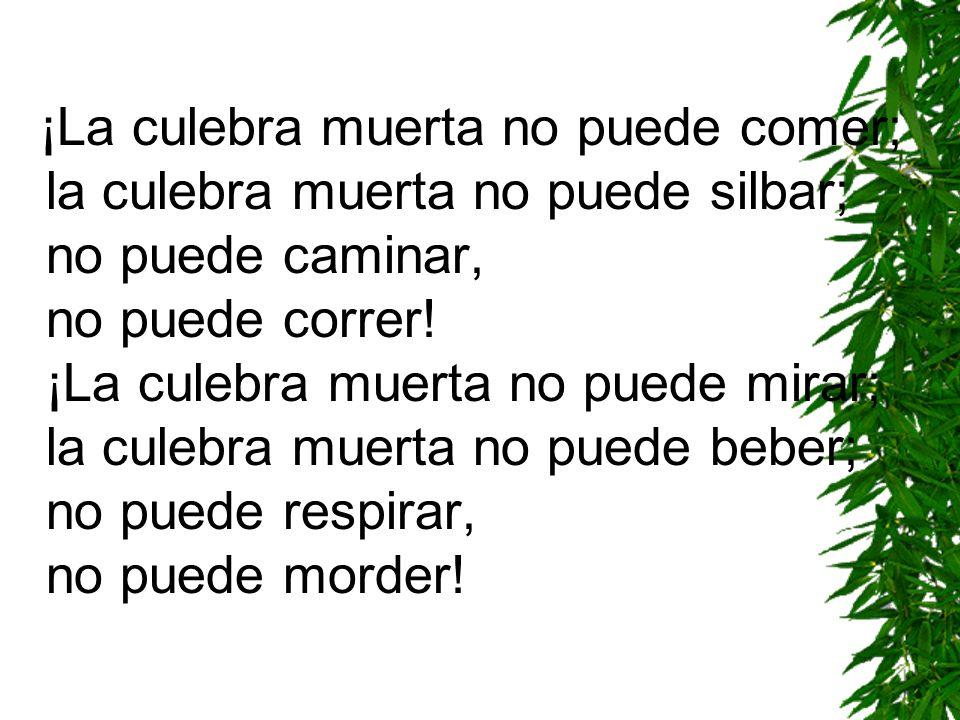 ¡La culebra muerta no puede comer; la culebra muerta no puede silbar; no puede caminar, no puede correr.