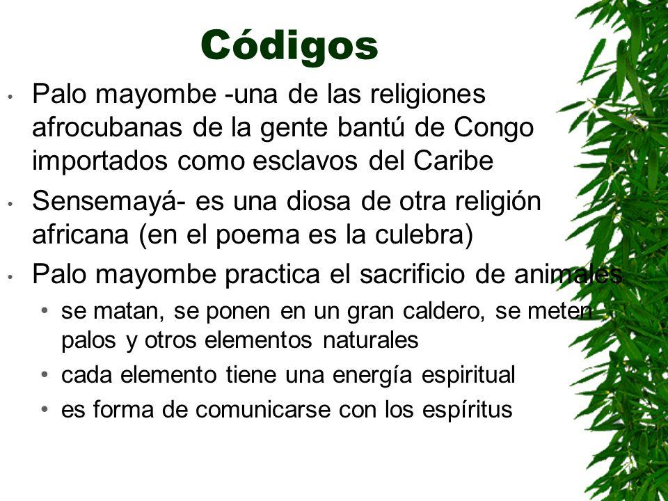 CódigosPalo mayombe -una de las religiones afrocubanas de la gente bantú de Congo importados como esclavos del Caribe.