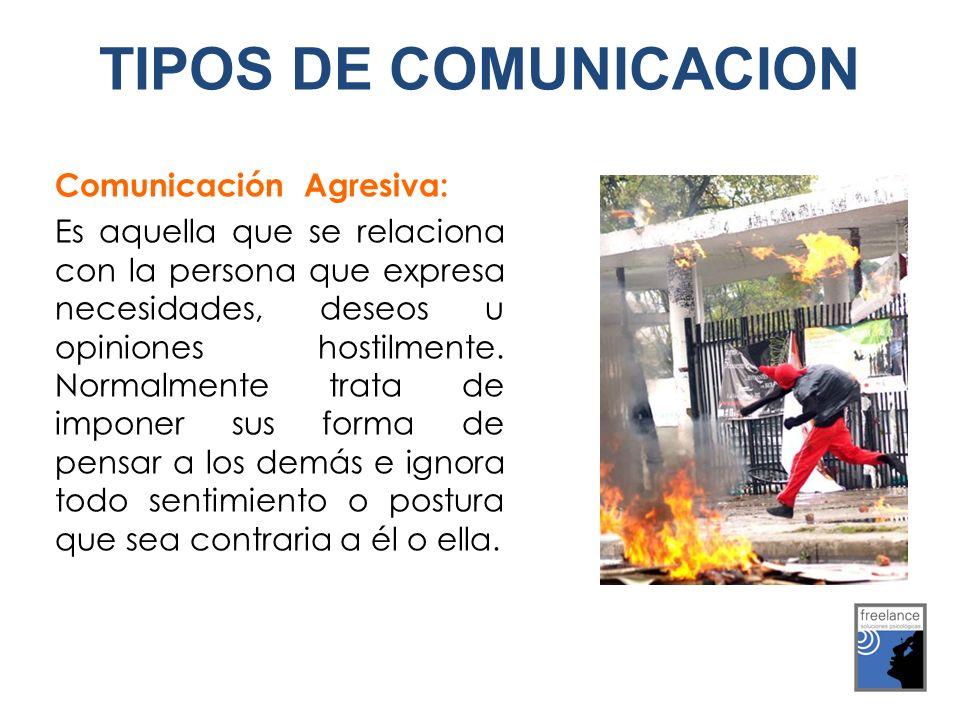 TIPOS DE COMUNICACION Comunicación Agresiva: