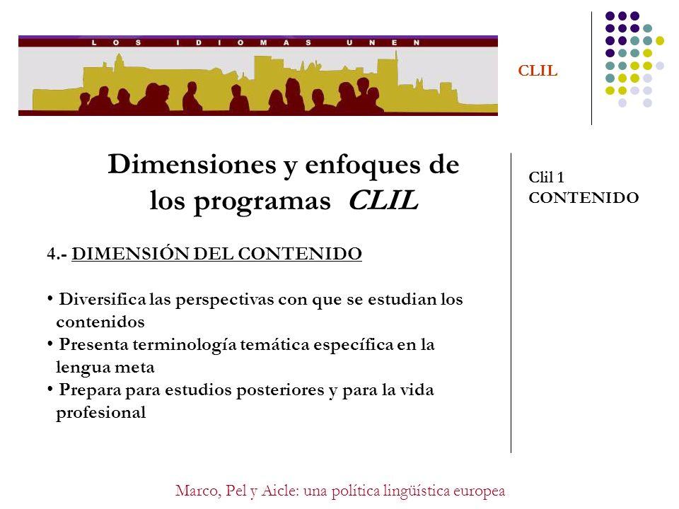 Dimensiones y enfoques de los programas CLIL