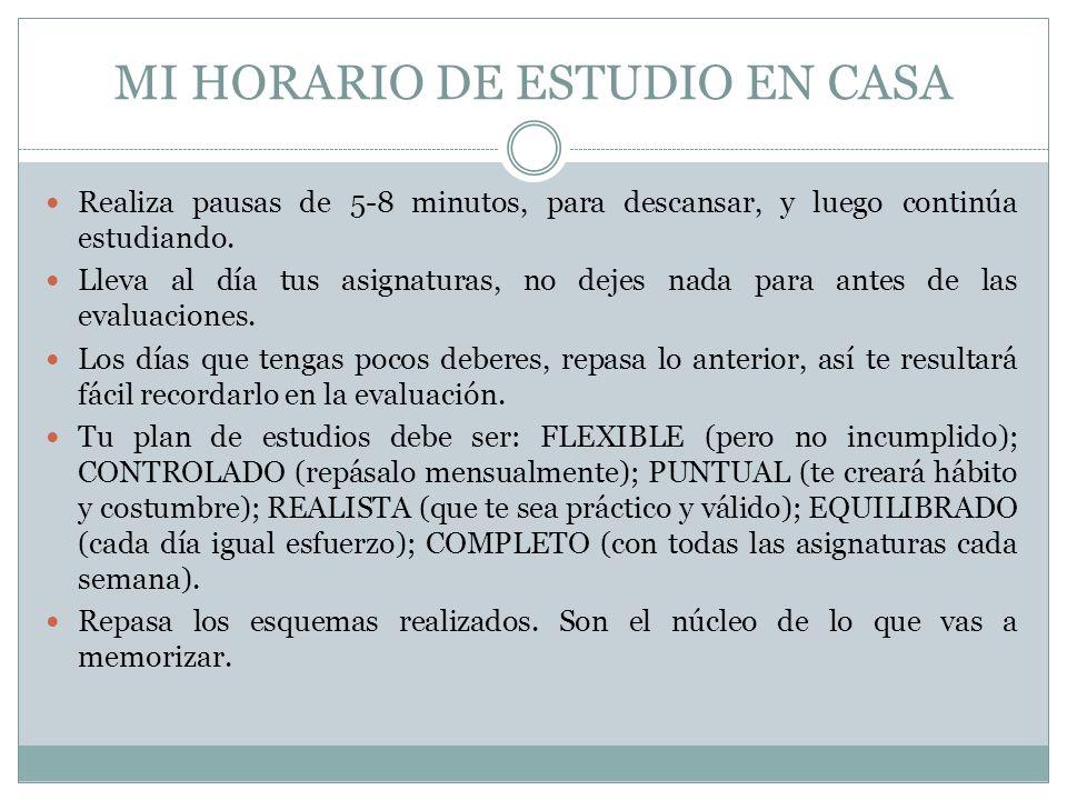 MI HORARIO DE ESTUDIO EN CASA