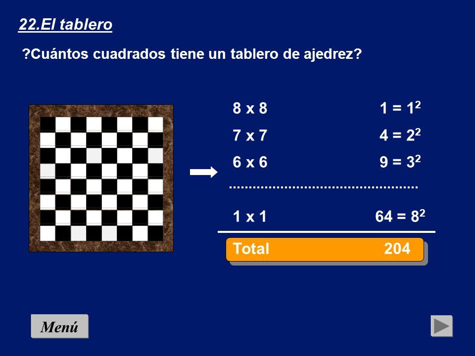 22.El tablero Cuántos cuadrados tiene un tablero de ajedrez 8 x 8 1 = 12. 7 x 7 4 = 22. 6 x 6 9 = 32.