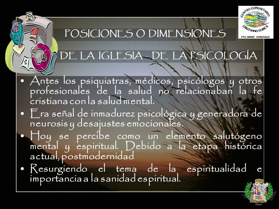POSICIONES O DIMENSIONES DE LA IGLESIA - DE LA PSICOLOGÍA