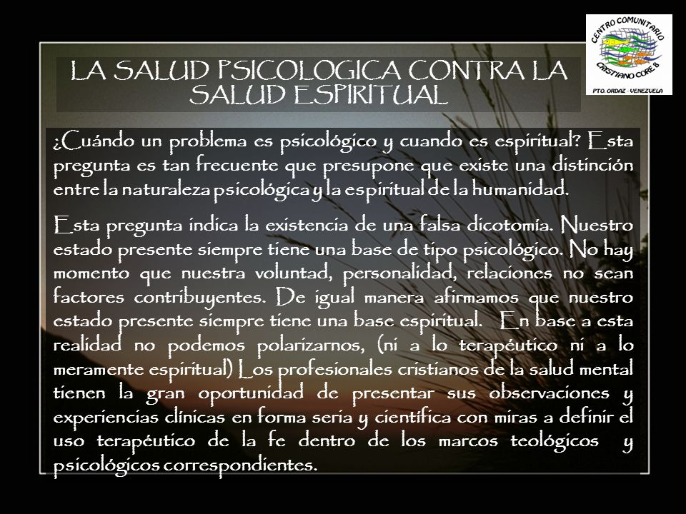 LA SALUD PSICOLOGICA CONTRA LA SALUD ESPIRITUAL