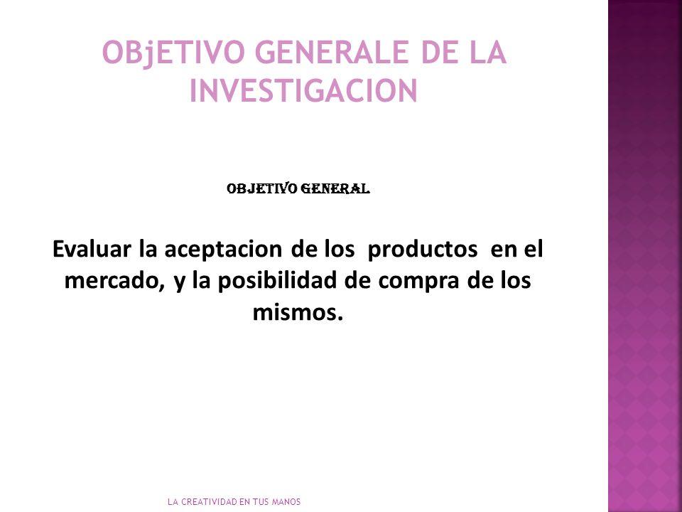 OBjETIVO GENERALE DE LA INVESTIGACION