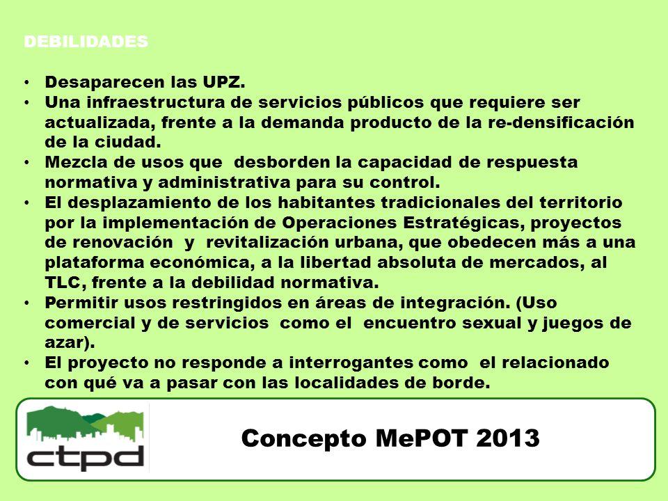 Concepto MePOT 2013 DEBILIDADES Desaparecen las UPZ.