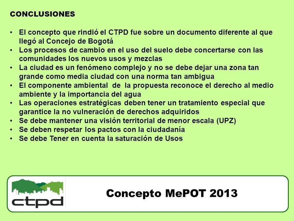 Concepto MePOT 2013 CONCLUSIONES