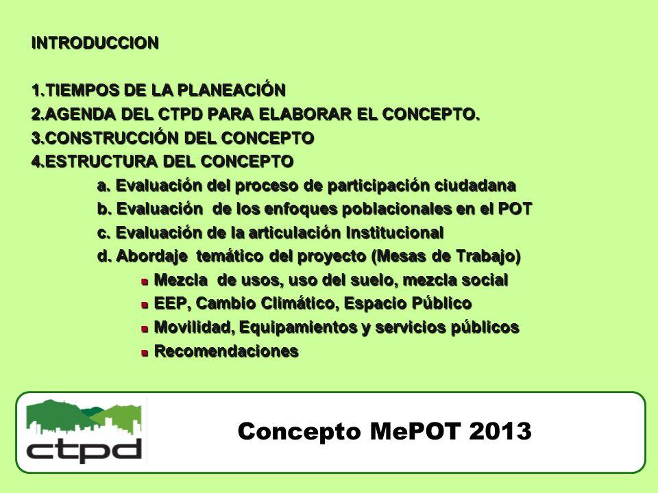 Concepto MePOT 2013 INTRODUCCION 1.TIEMPOS DE LA PLANEACIÓN