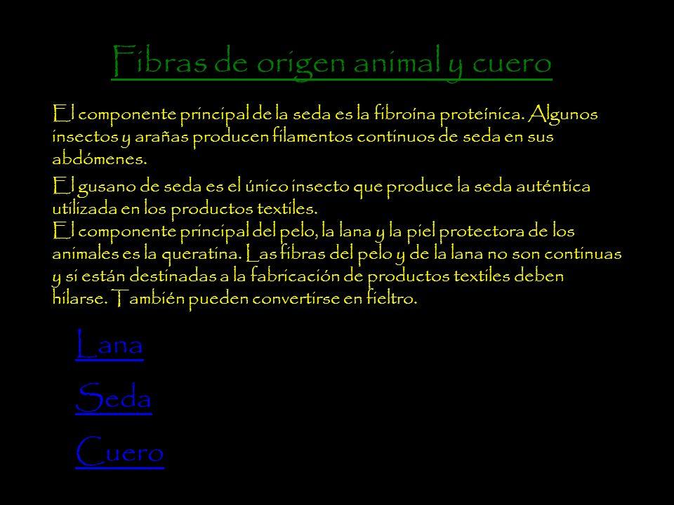 Fibras de origen animal y cuero