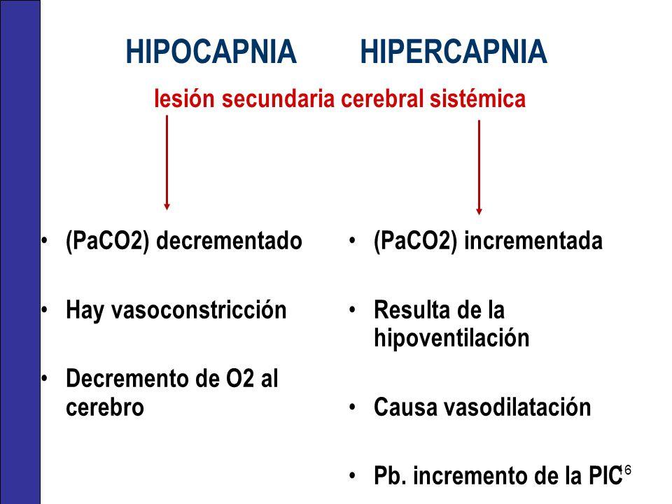 HIPOCAPNIA HIPERCAPNIA lesión secundaria cerebral sistémica