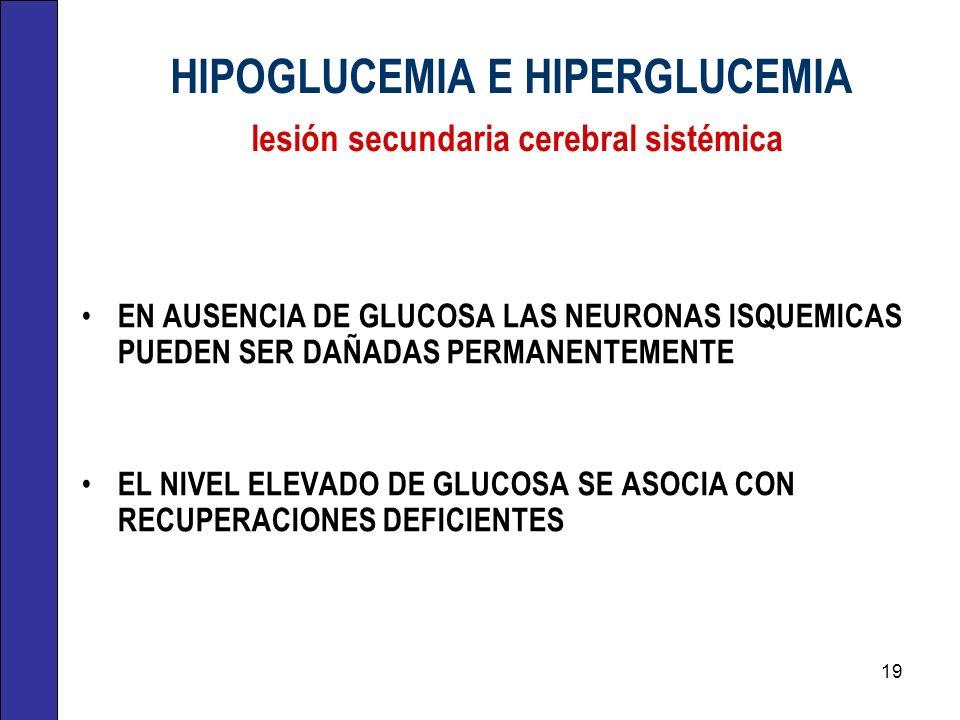 HIPOGLUCEMIA E HIPERGLUCEMIA lesión secundaria cerebral sistémica