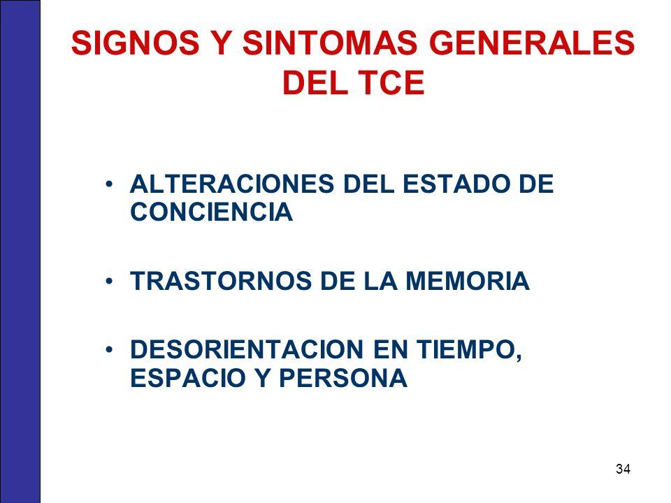 SIGNOS Y SINTOMAS GENERALES DEL TCE