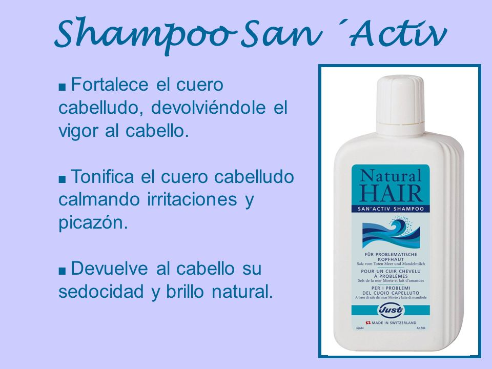 Shampoo San ´Activ Fortalece el cuero cabelludo, devolviéndole el vigor al cabello. Tonifica el cuero cabelludo calmando irritaciones y picazón.