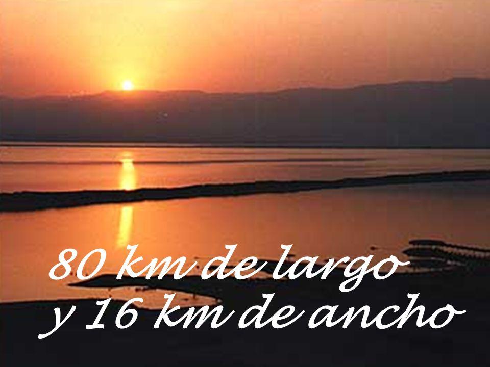 El Mar Muerto es un lago de agua salada de 80 km de largo y 16 km. de