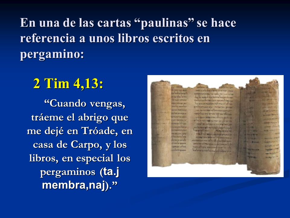 En una de las cartas paulinas se hace referencia a unos libros escritos en pergamino: