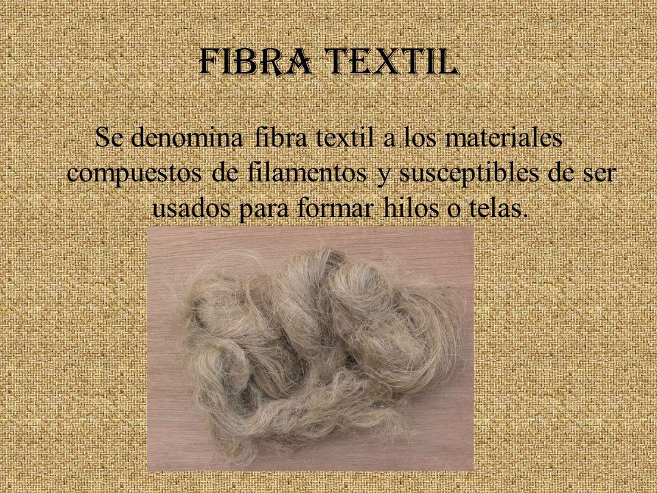 FIBRA TEXTIL Se denomina fibra textil a los materiales compuestos de filamentos y susceptibles de ser usados para formar hilos o telas.