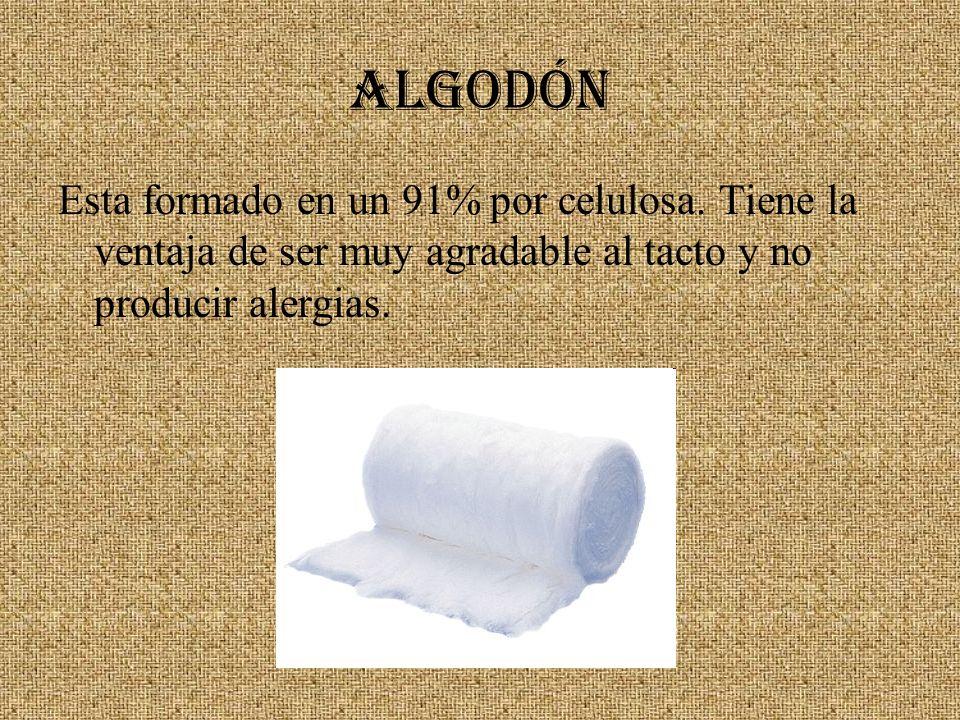 ALGODÓNEsta formado en un 91% por celulosa.