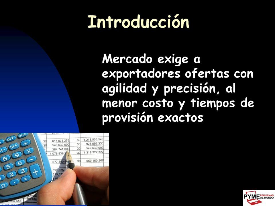 Introducción Mercado exige a exportadores ofertas con agilidad y precisión, al menor costo y tiempos de provisión exactos.