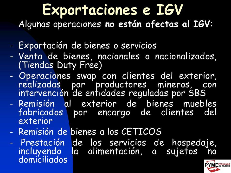 Exportaciones e IGV - Exportación de bienes o servicios