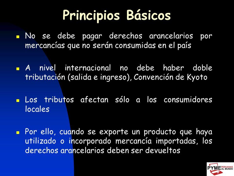 Principios Básicos No se debe pagar derechos arancelarios por mercancías que no serán consumidas en el país.