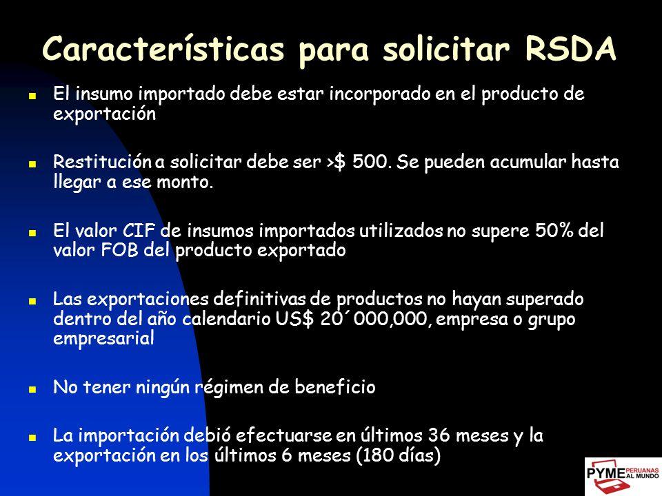 Características para solicitar RSDA