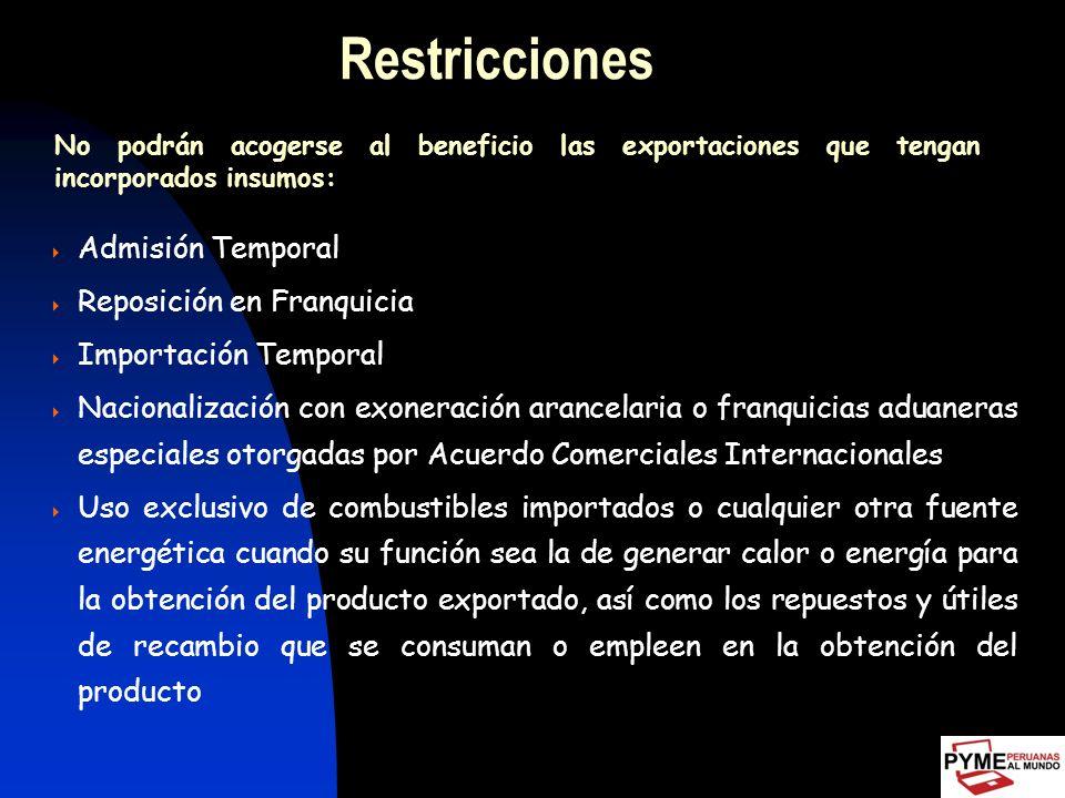 Restricciones Admisión Temporal Reposición en Franquicia