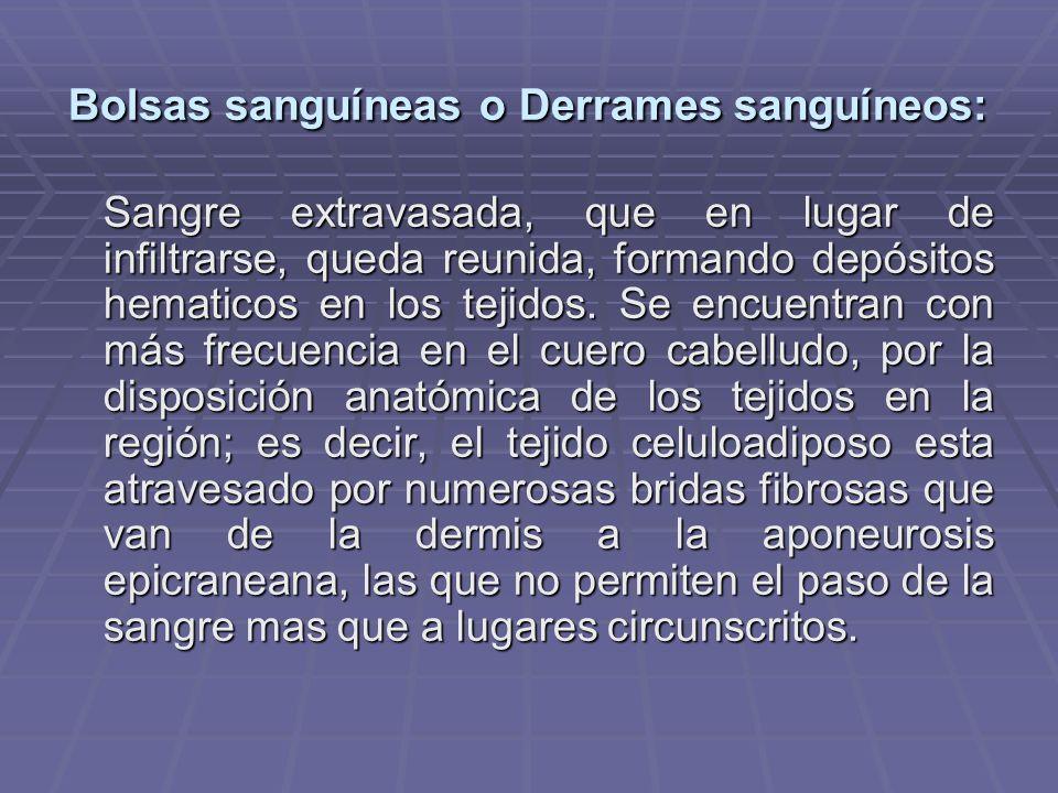 Bolsas sanguíneas o Derrames sanguíneos: