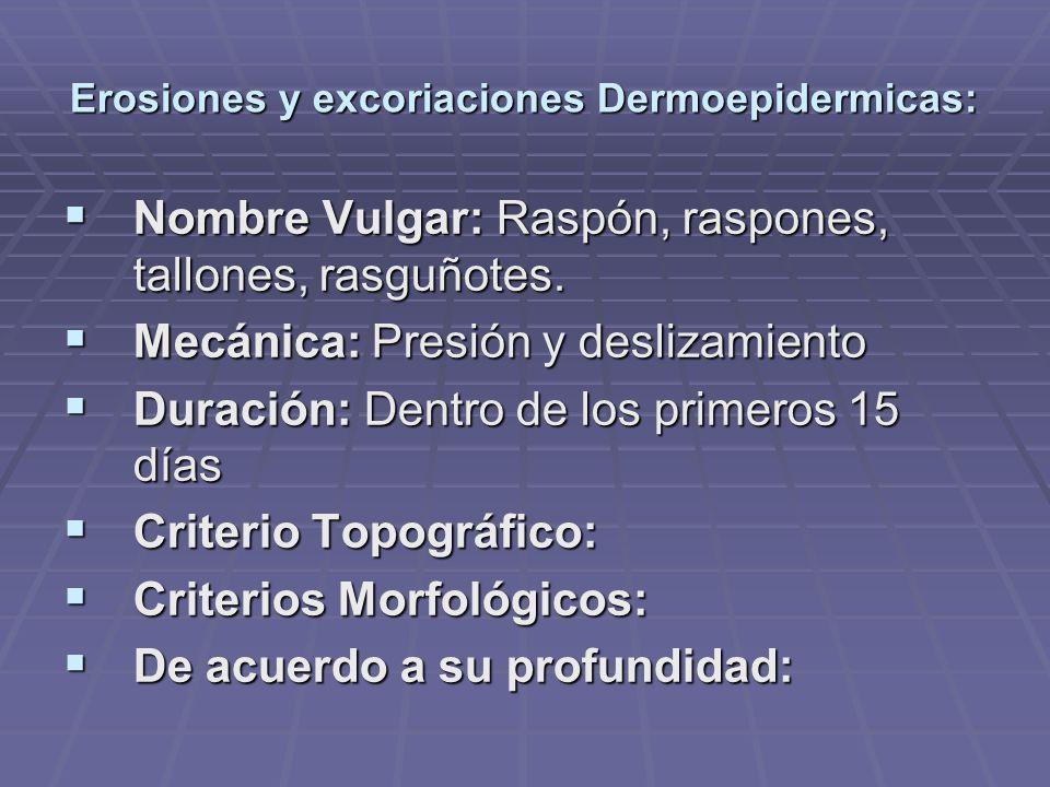 Erosiones y excoriaciones Dermoepidermicas: