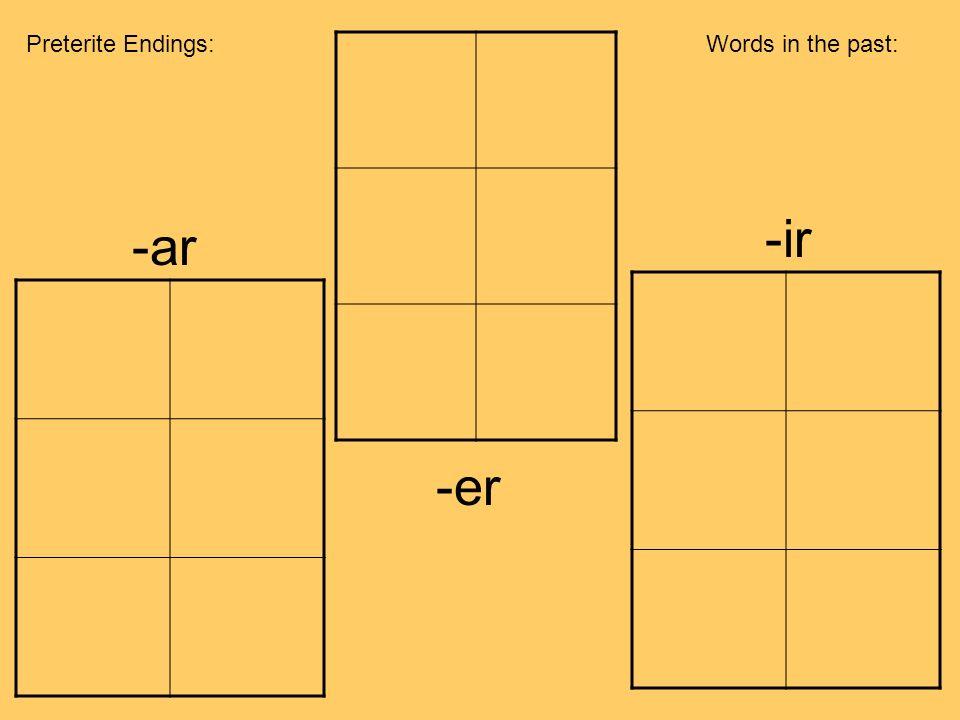 Preterite Endings: Words in the past: -ir -ar -er