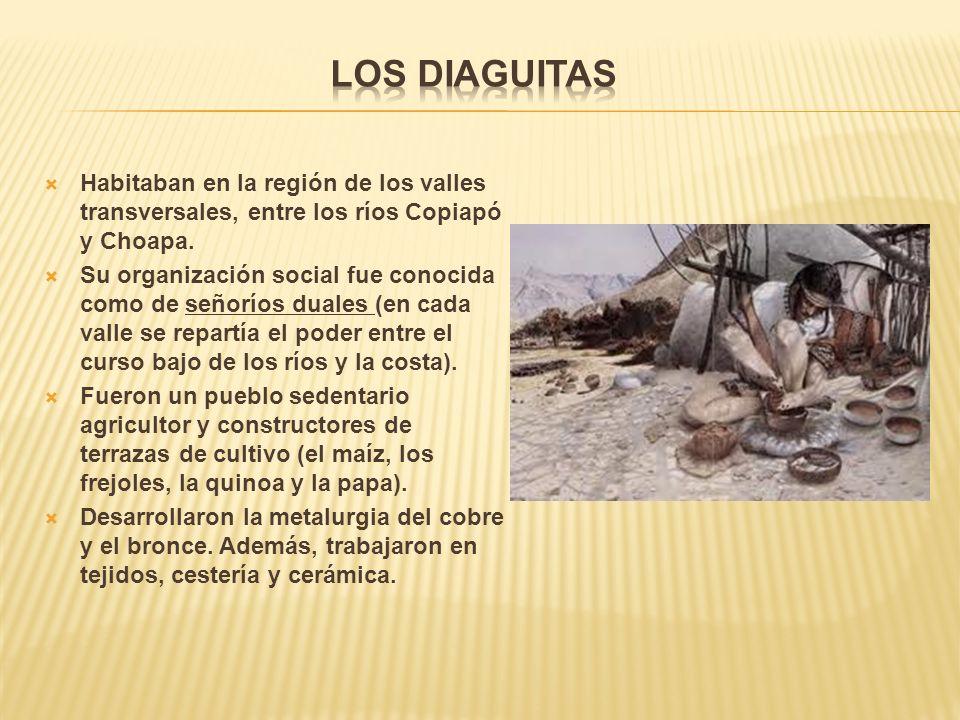 Los Diaguitas Habitaban en la región de los valles transversales, entre los ríos Copiapó y Choapa.
