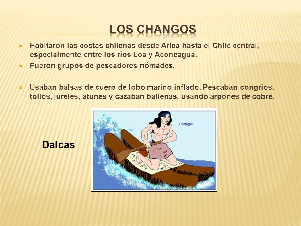 Los Changos Habitaron las costas chilenas desde Arica hasta el Chile central, especialmente entre los ríos Loa y Aconcagua.