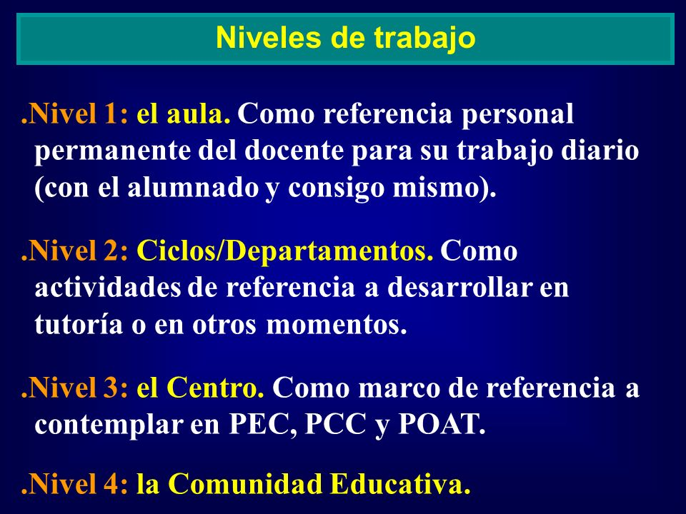 Niveles de trabajo .Nivel 1: el aula. Como referencia personal permanente del docente para su trabajo diario (con el alumnado y consigo mismo).