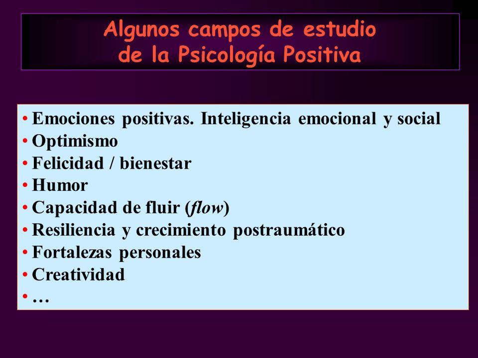 Algunos campos de estudio de la Psicología Positiva