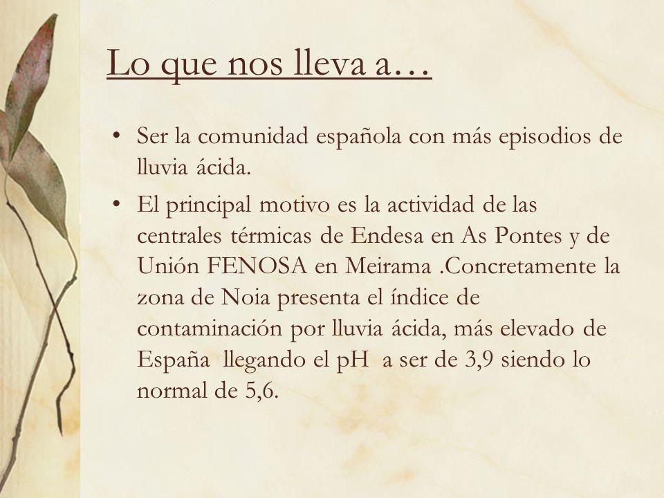 Lo que nos lleva a…Ser la comunidad española con más episodios de lluvia ácida.