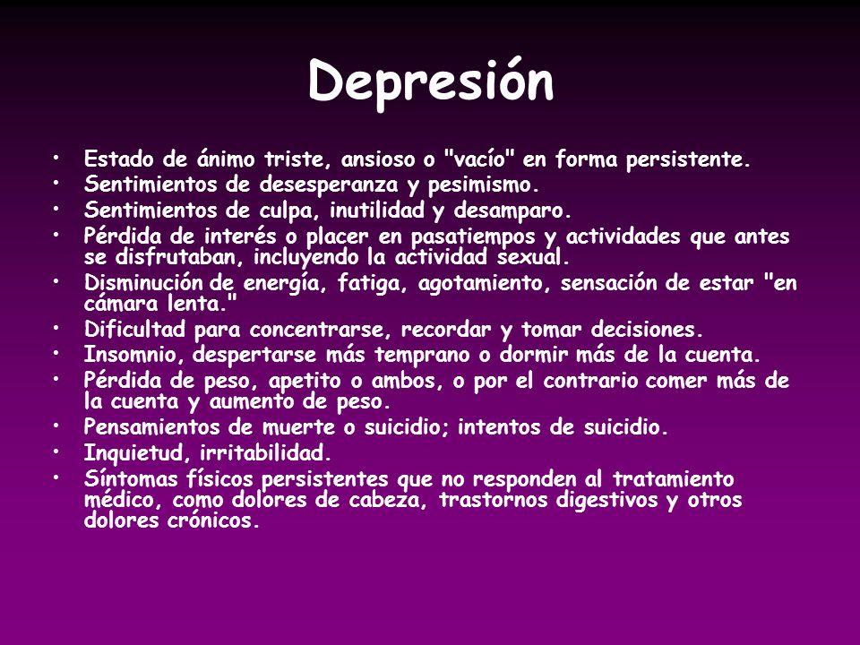DepresiónEstado de ánimo triste, ansioso o vacío en forma persistente. Sentimientos de desesperanza y pesimismo.