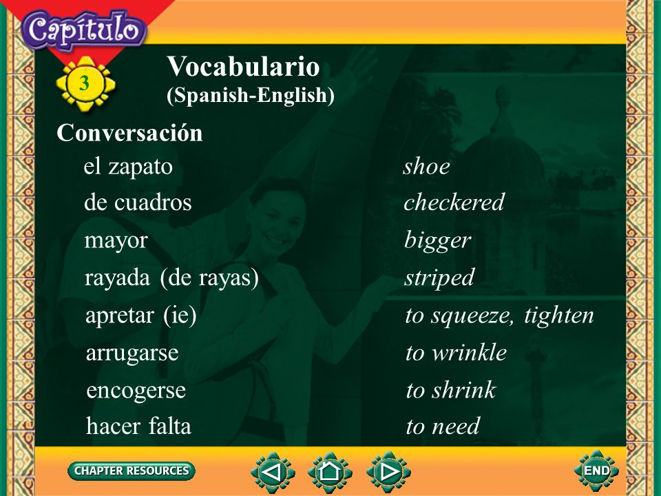 Vocabulario Conversación el zapato shoe de cuadros checkered mayor