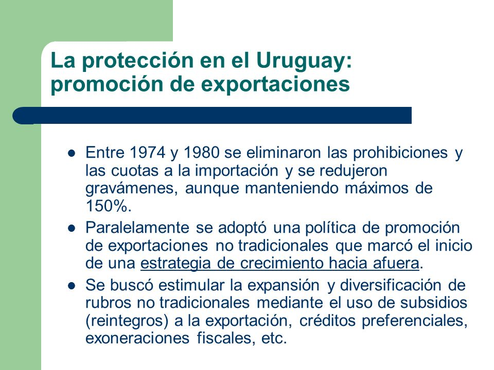 La protección en el Uruguay: promoción de exportaciones