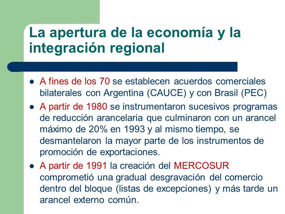 La apertura de la economía y la integración regional