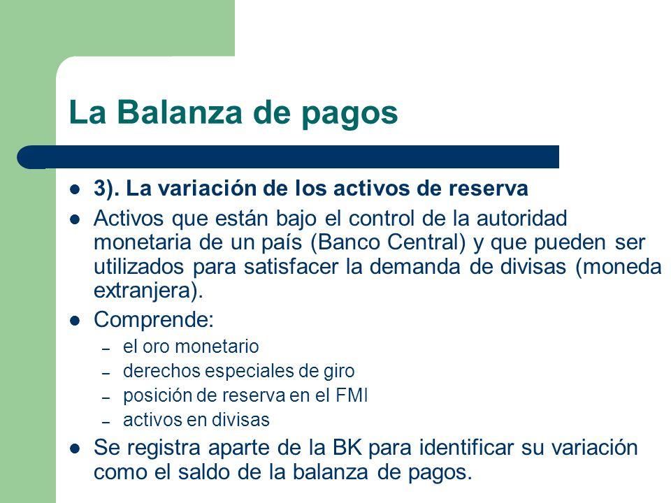 La Balanza de pagos 3). La variación de los activos de reserva